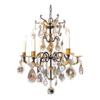 6-Light Chandelier With Mult-Shaped / Colored Crystal Pendants
