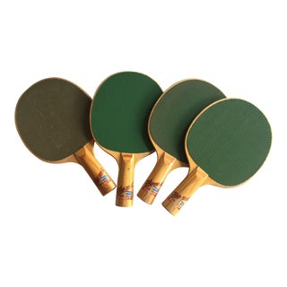 Vintage Retro Table Tennis Paddles - Set of 4