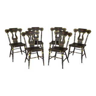 Set of 6 Painted & Decorated Side Chairs