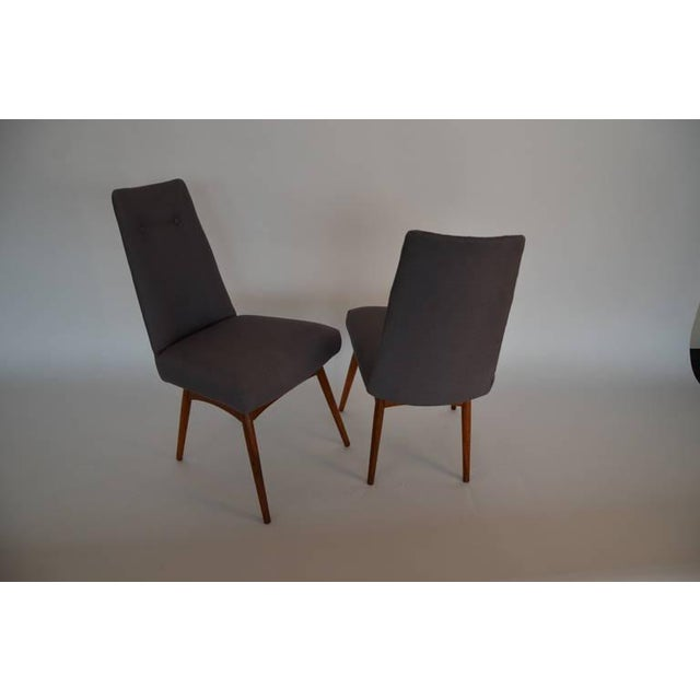 Mid Century Modern Adrian Pearsall Set of Six Dining Chairs in Gray Linen - Image 7 of 7
