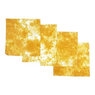 Yellow Marbled Cloth Napkins - Set of 4