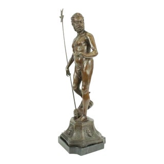 Atlantis Neptune Sea Greek God Marine Bronze Sculpture on Marble Base Statue