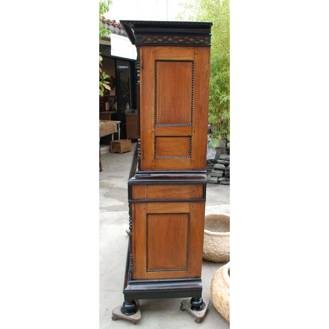 Image of 19th c. British Colonial Satin/Ebony 4 Door Cabinet with Carved Moldings
