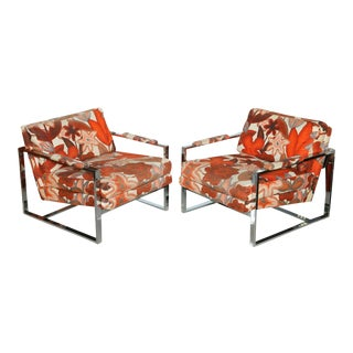 A Pair of Milo Baughman Polished Chrome Club Chairs