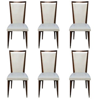 Suite Six French Art Deco Solid Mahogany Dining Chairs, circa 1940's