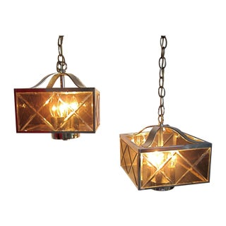 Vintage Square Chrome Pendant Lights - A Pair