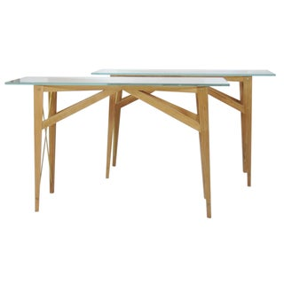 X Base Glasstop Console Tables - Pair