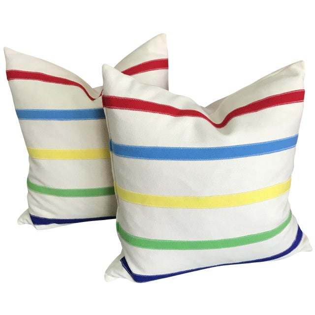 Hudson Bay Style Down Pillows - A Pair - Image 1 of 4