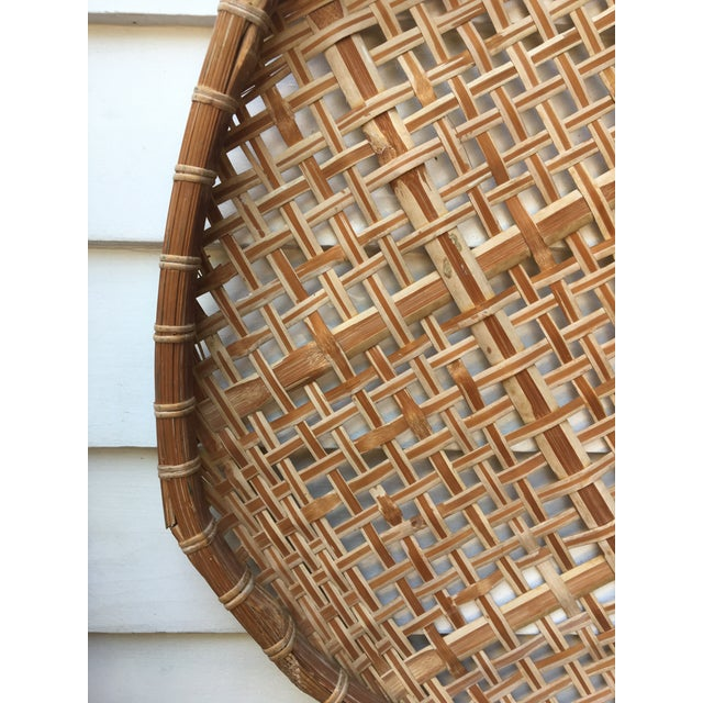 Giant Vintage Bamboo Winnowing Fish Drying Wall Basket - Image 4 of 7