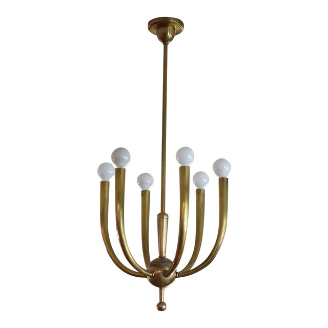 Image of Brass Chandelier With Six Lights