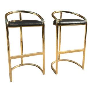 Milo Baughman Style Brass Bar Stools - A Pair