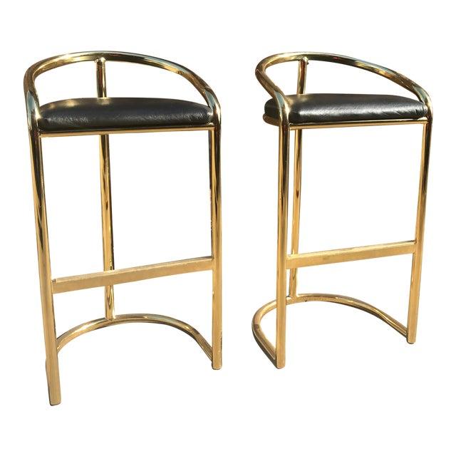 Milo Baughman Style Brass Bar Stools - A Pair - Image 1 of 7