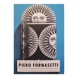 1962 Original Piero Fornasetti Exhibition Poster (blue)