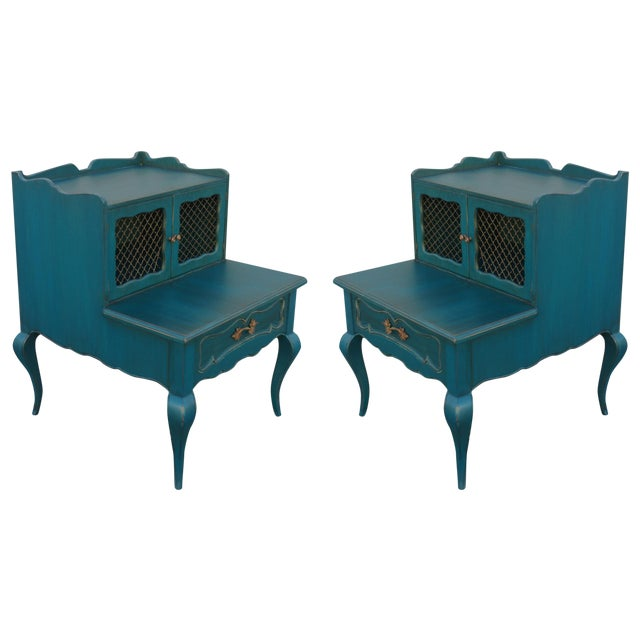 Mid-Century Blue Nightstands - Pair - Image 1 of 9