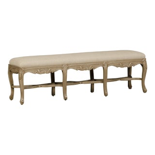 Regence Style Painted Bench, Eight Cabriole Legs with Stretchers, France, Upholstered Seat