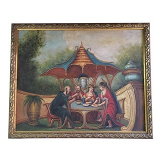 Chinoiserie Pagoda Oil Painting