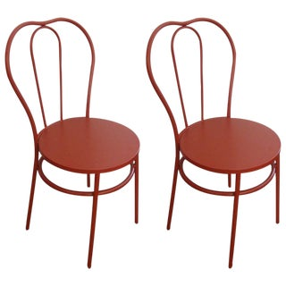 Industrial Red Bistro Chairs - A Pair