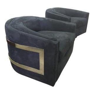 Chrome and Black Velvet Swivel Chair