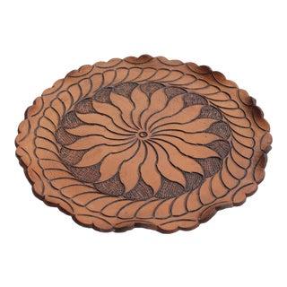 Boho Leather Tooled Tray
