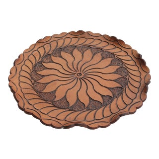 Boho Leather Tooled Tray