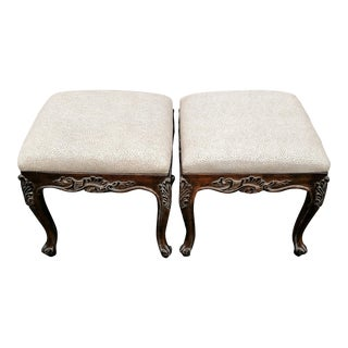 Vintage Upholstered Carved Wood Benches - A Pair