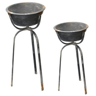Antique Standing Metal Planters - A Pair