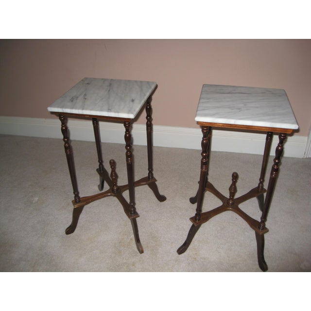 Marble Top Side Tables - A Pair - Image 2 of 4