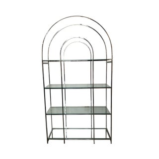 Arch Top Chrome & Glass Etagere