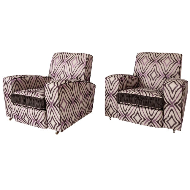 Art Deco Ikat Silk Fabric Club Chairs - A Pair - Image 1 of 4