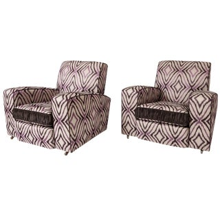 Art Deco Ikat Silk Fabric Club Chairs - A Pair