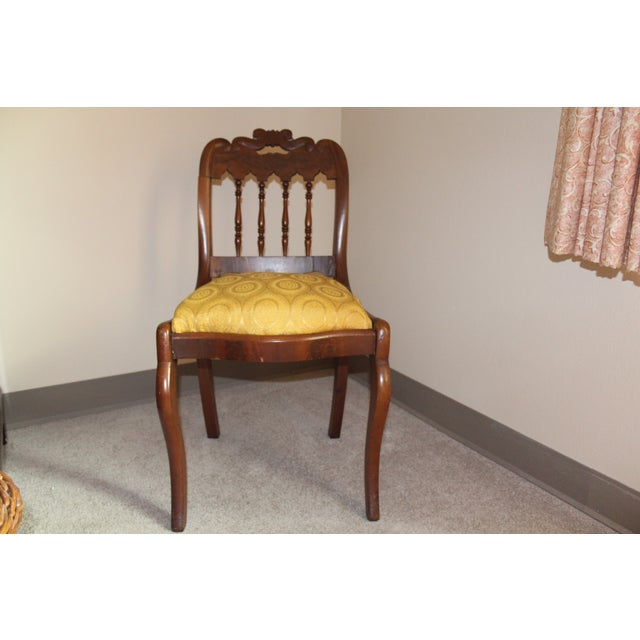Wood & Yellow Seat Louis XV Style Side Chair - Image 2 of 7