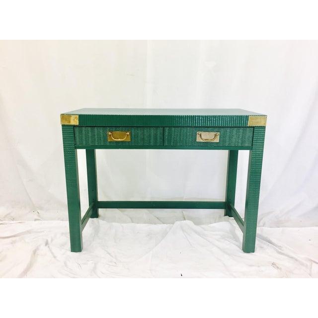 Vintage Mid-Century Campaign Green Desk - Image 7 of 11