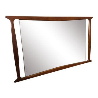 Vintage Mid Century Large Walnut Mirror