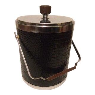 Kromex Ice Bucket in Faux Black Alligator