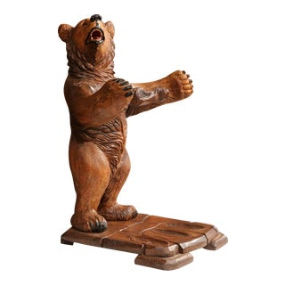Early 20th Century French Carved Black Forest Three-Gun Holder Bear Sculpture