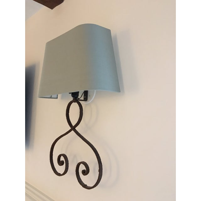 Iron Sconces with Shades - A Pair - Image 3 of 3