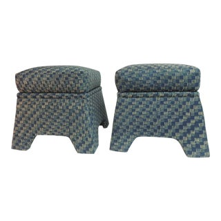 Vintage Stools Covered in Vintage Batik Indigo Textile - Pair