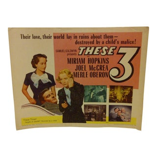 """Vintage """"These 3"""" 1954 Movie Poster"""