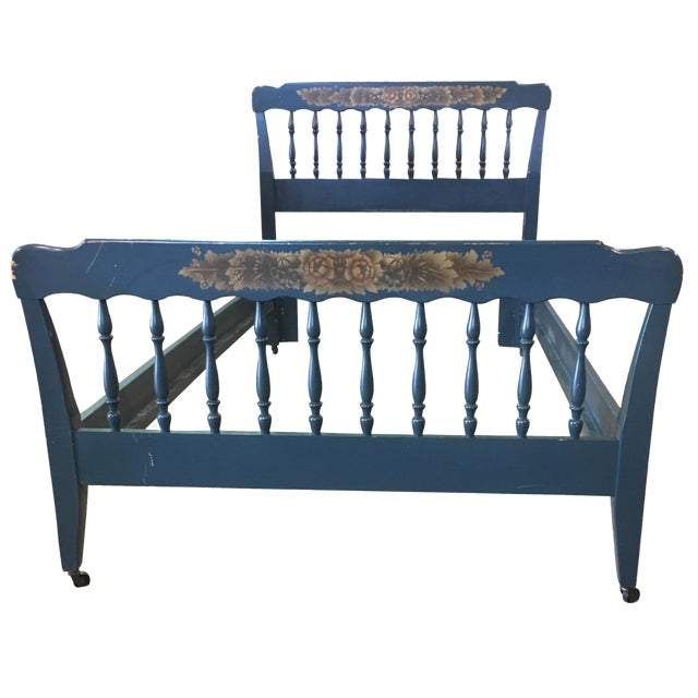 Vintage Hitchcock Blue Twin Bed - Image 1 of 10
