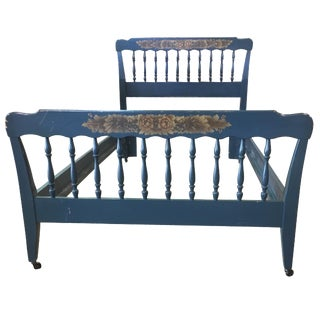 Vintage Hitchcock Blue Twin Bed