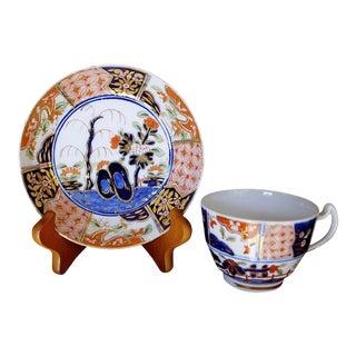 "Spode ""Rock & Tree"" Pattern Porcelain Tea Cup & Saucer - A Pair"