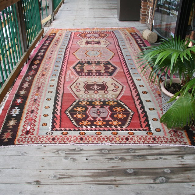 "Vintage Turkish Kilim Rug - 7' X 13'3"" - Image 7 of 8"