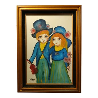 Roger Etienne -Big Eyed Boy & Girl in Love- Oil painting 1974