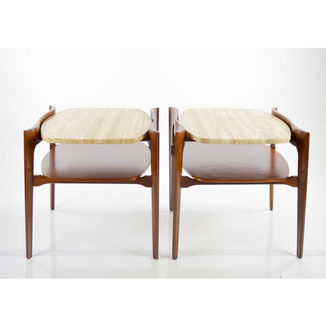 Travertine & Walnut Modern Side Tables - Pair by Bertha Schaefer - Image 4 of 11