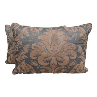 Salmon & Silvery Gold Fortuny Pillows - A Pair