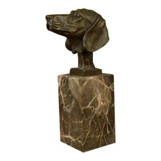 Dachshund Bronze Bust Sculpture