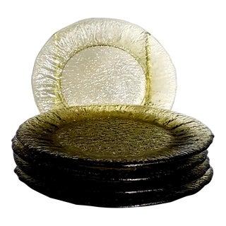 "Morgantown Vintage Green Crinkle Glass 7"" Plates - Set of 5"