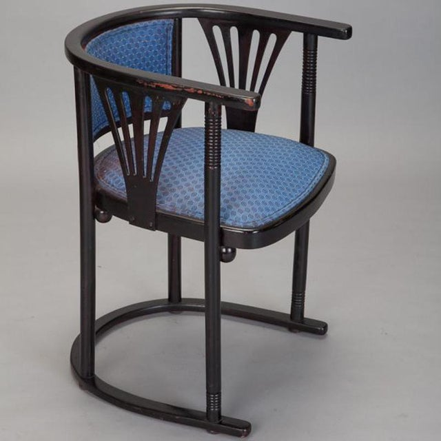 Pair of Josef Hoffmann Armchairs with Blue Upholstery - Image 3 of 5