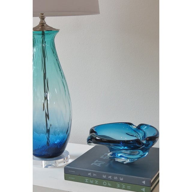 Turquoise Green/Blue Tall Blown Glass Lamp - Image 2 of 4