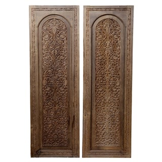 Antique Carved Anglo-Indian Doors - Pair